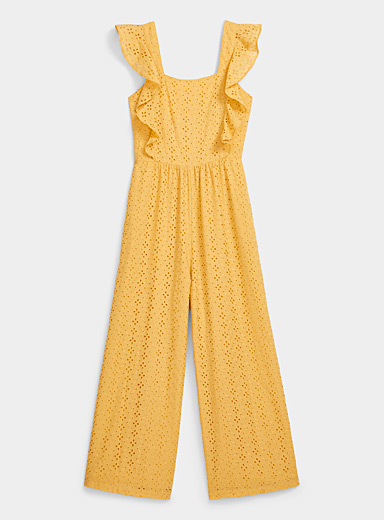 MINKPINK Orange Yellow broderie anglaise jumpsuit for women