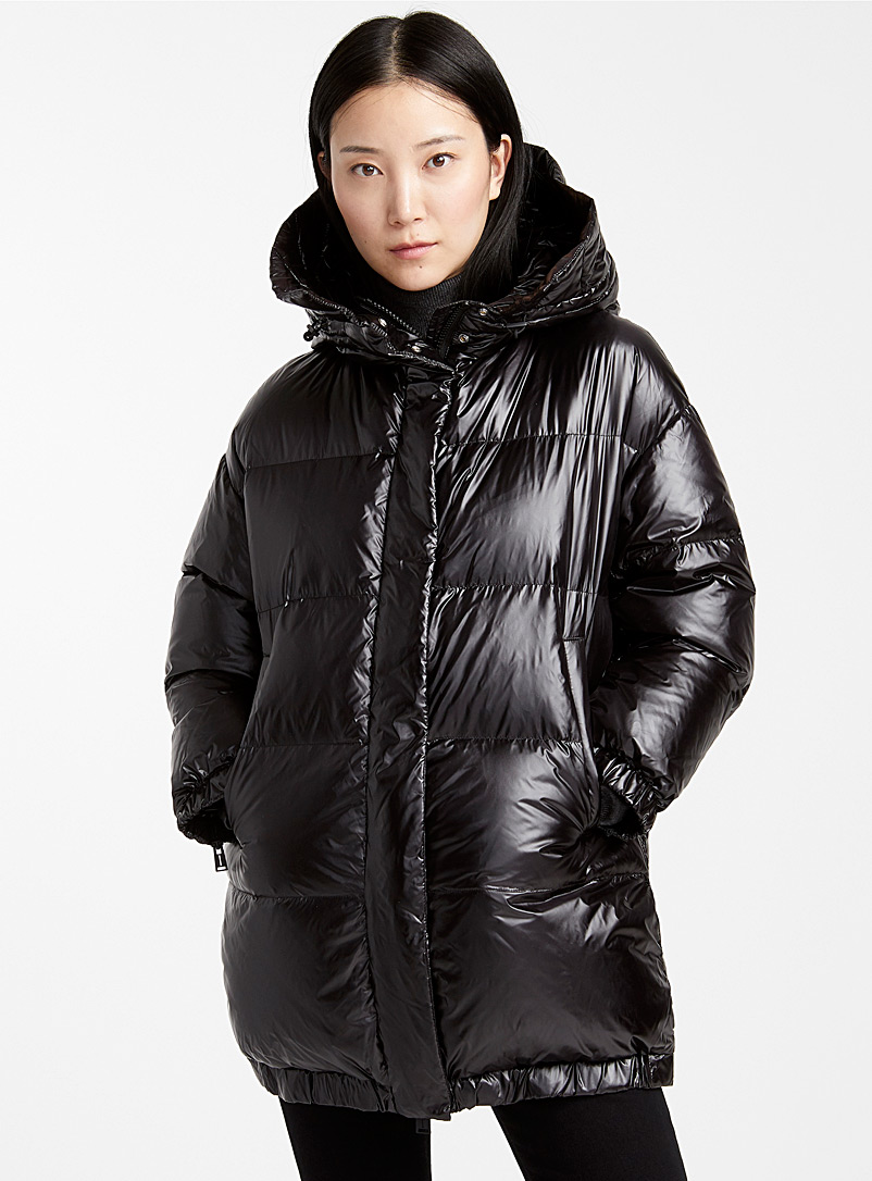 Cocoon-hood shiny puffer jacket - Quilted and Down Jackets - Black