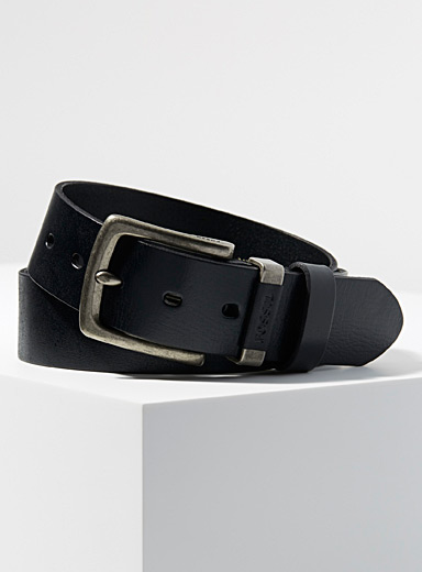 Fossil Black Jay leather belt for men