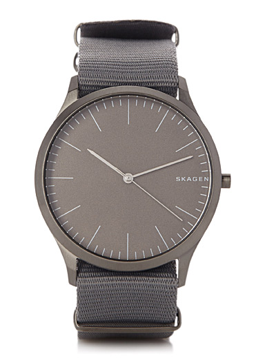 Jorn silver nylon band watch