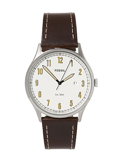 Fossil Patterned White Vintage leather Forrester watch for men