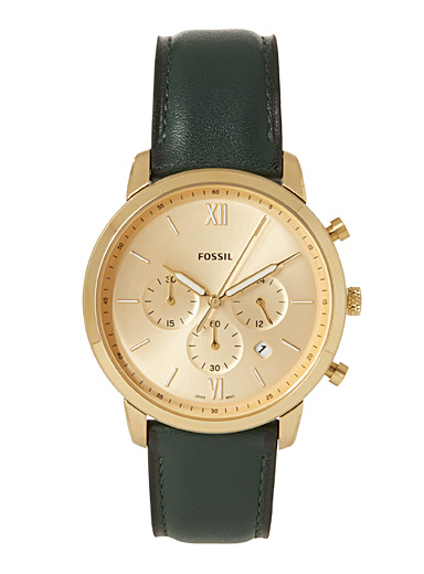 Fossil Golden Yellow Emerald green Neutra Chronograph watch for men