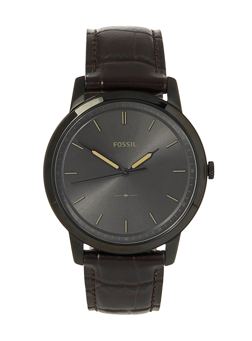 Brown leather Minimalist watch - Watches - Black