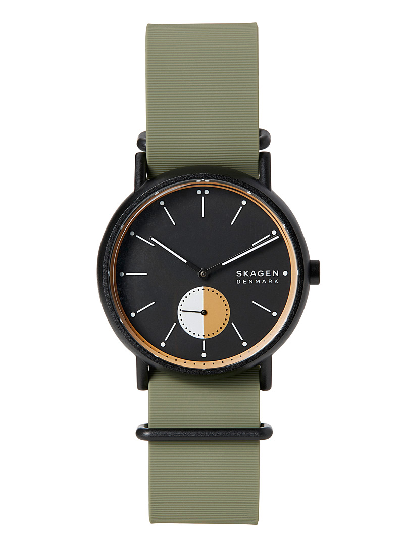 Skagen Black Green silicone Signatur watch for men