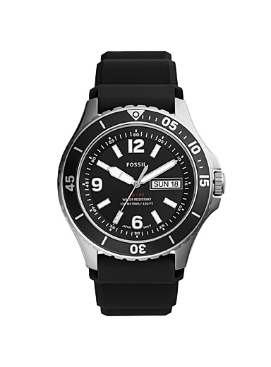Fossil Black FB-02 stainless steel watch for men