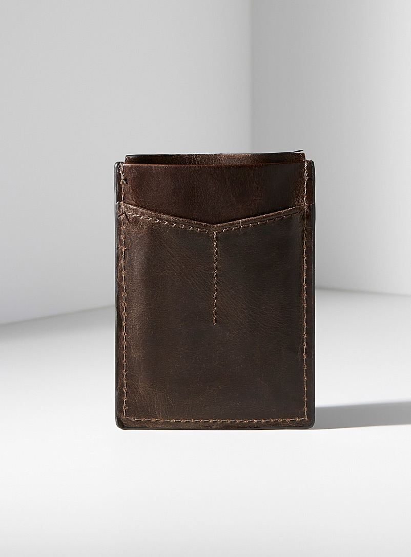 Derrick magnetic card holder - Wallets - Brown