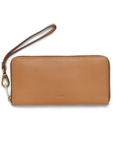 Snap hook leather wallet