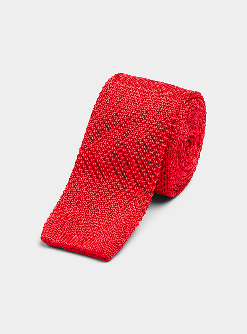 Le 31 Ruby Red Solid knit tie for men