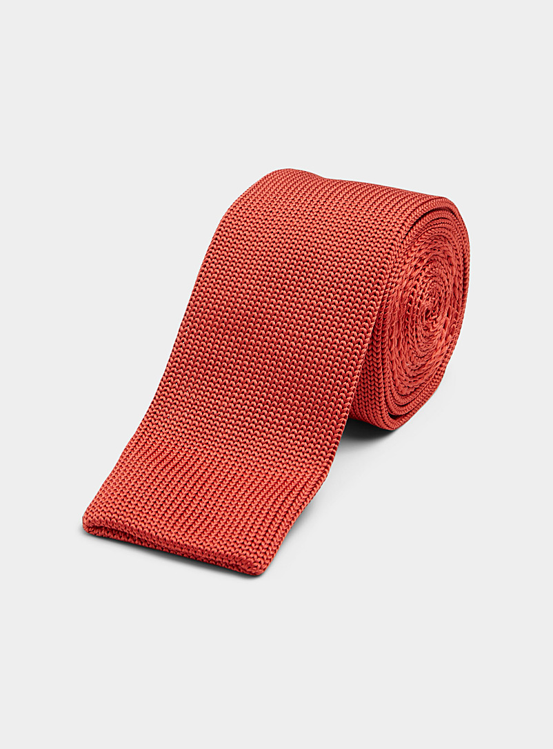 Coloured knit tie - Skinny Ties - Toast