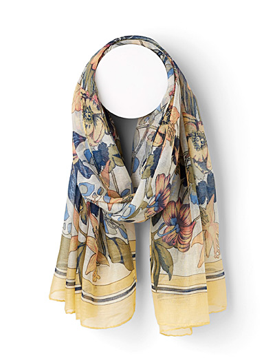 Sarajane Assorted yellow  Ink floral scarf for women
