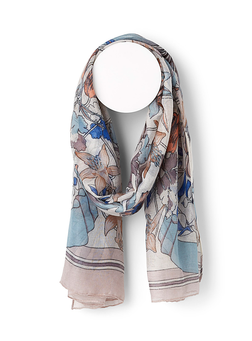 Sarajane Assorted Ink floral scarf for women