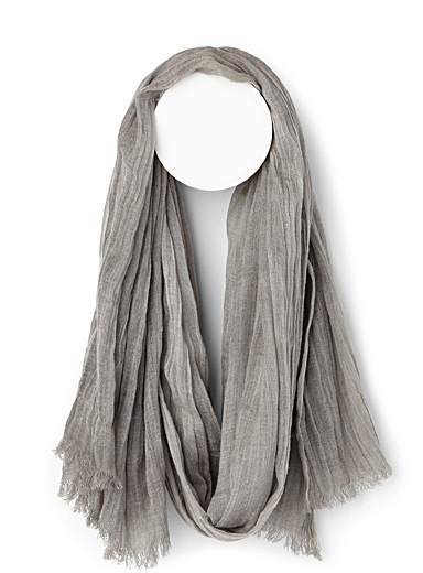 Pleated faux-linen scarf