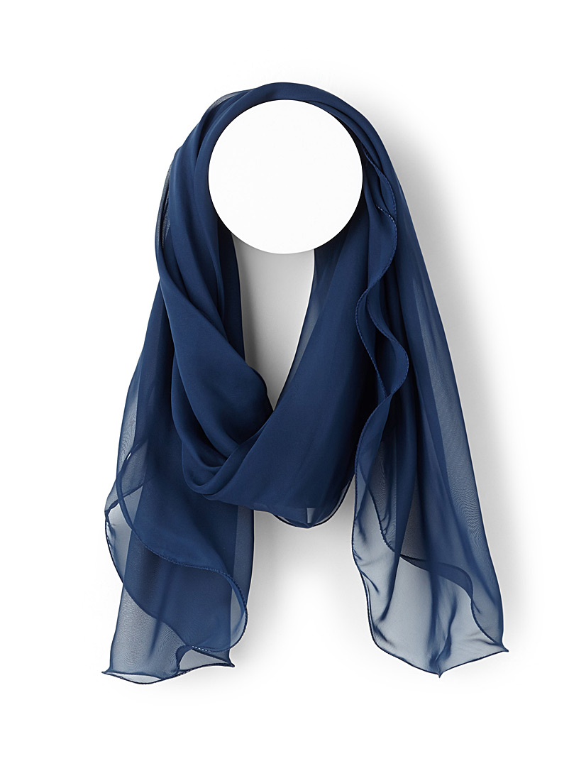 Wavy trim voile scarf - Light scarves - Blue