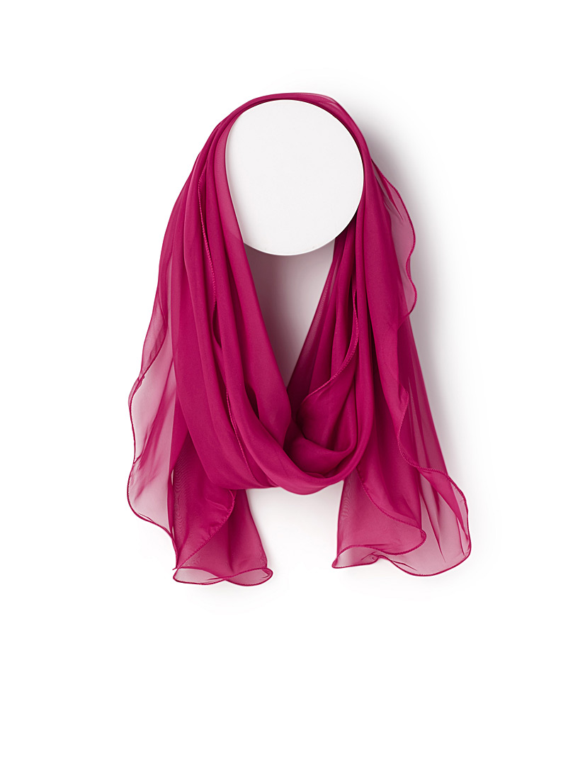 Wavy trim voile scarf - Light scarves - Ruby Red