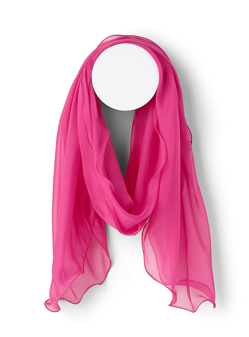 Wavy trim voile scarf - Light scarves - Bright Red