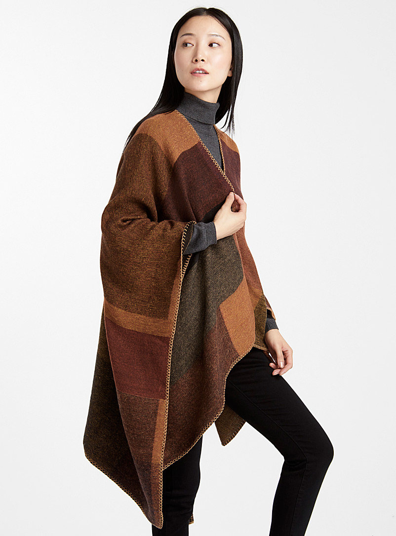 Retro block shawl - Capes & Ponchos - Patterned Brown