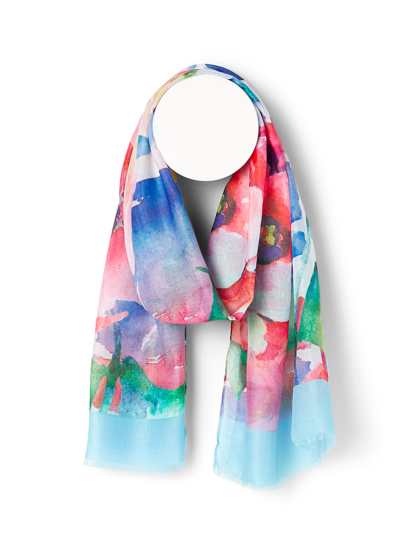 Painterly flower garden scarf