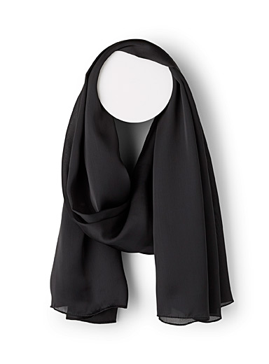 Simons Black Solid sheer scarf for women