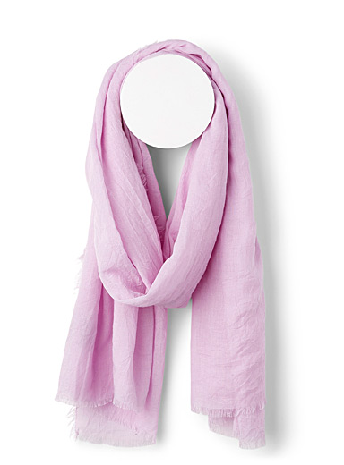 Sarajane Purple Fringed solid scarf for women