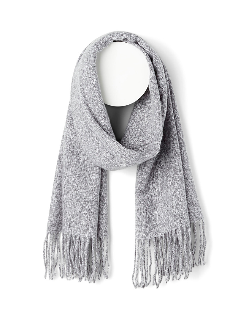 Simons Silver Velvety weave scarf for women