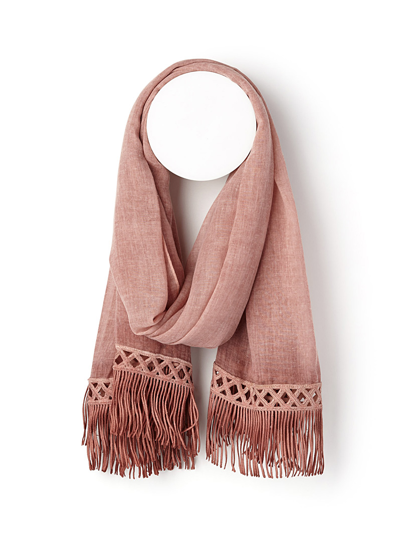 Fringed scarf - Light scarves - Pink
