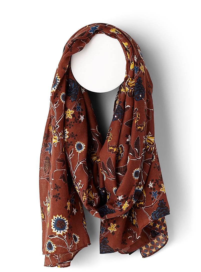 Retro mosaic scarf - Light scarves - Patterned Brown