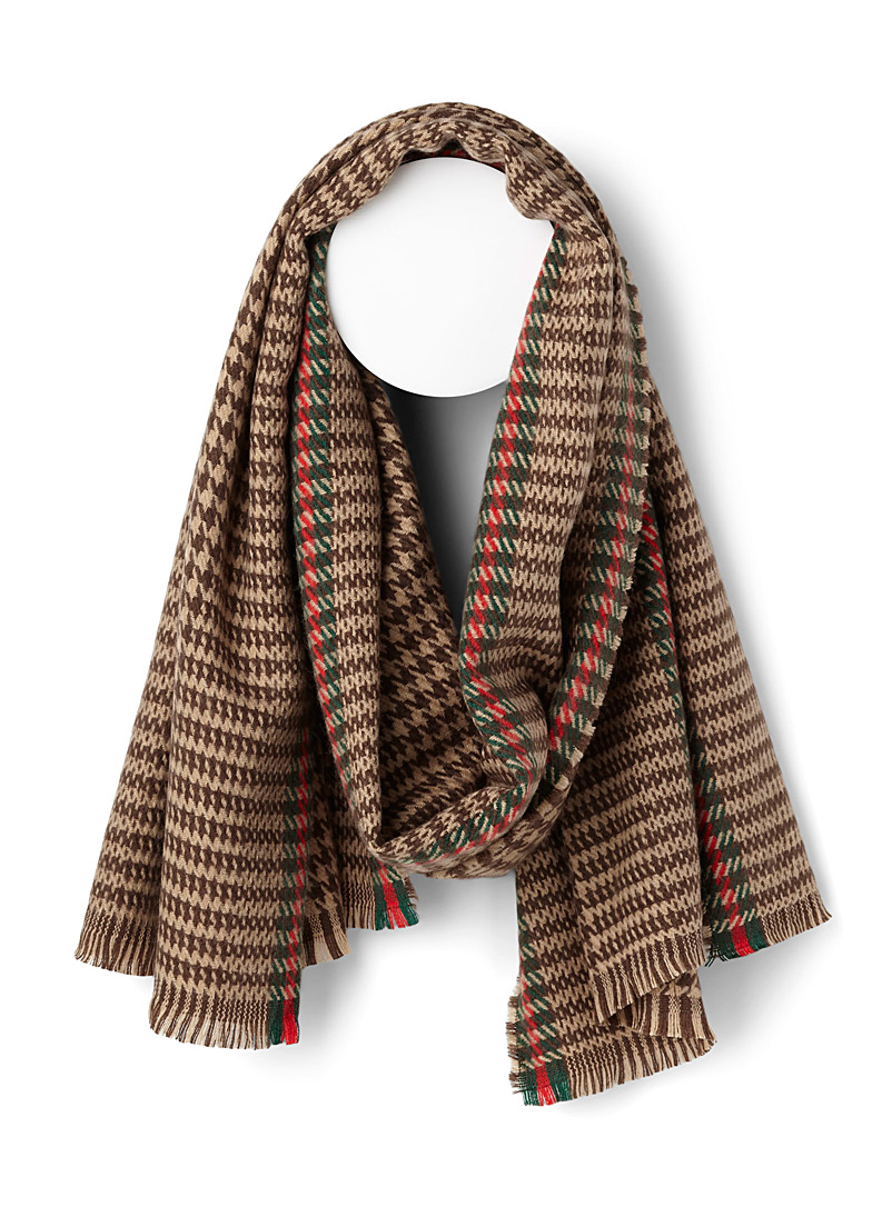 Accent houndstooth scarf - Winter Scarves - Patterned Brown