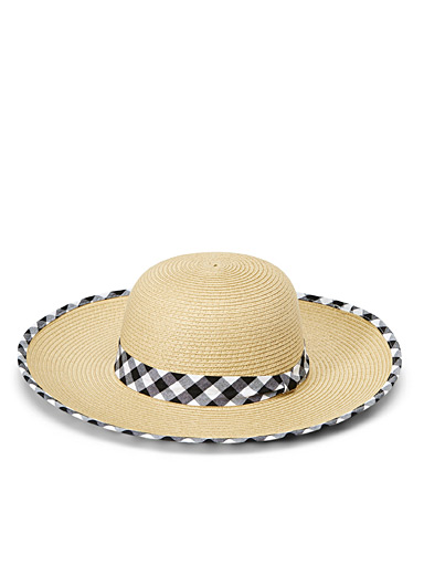 Sarajane Assorted Gingham accent straw hat for women