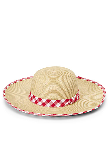 Gingham accent straw hat