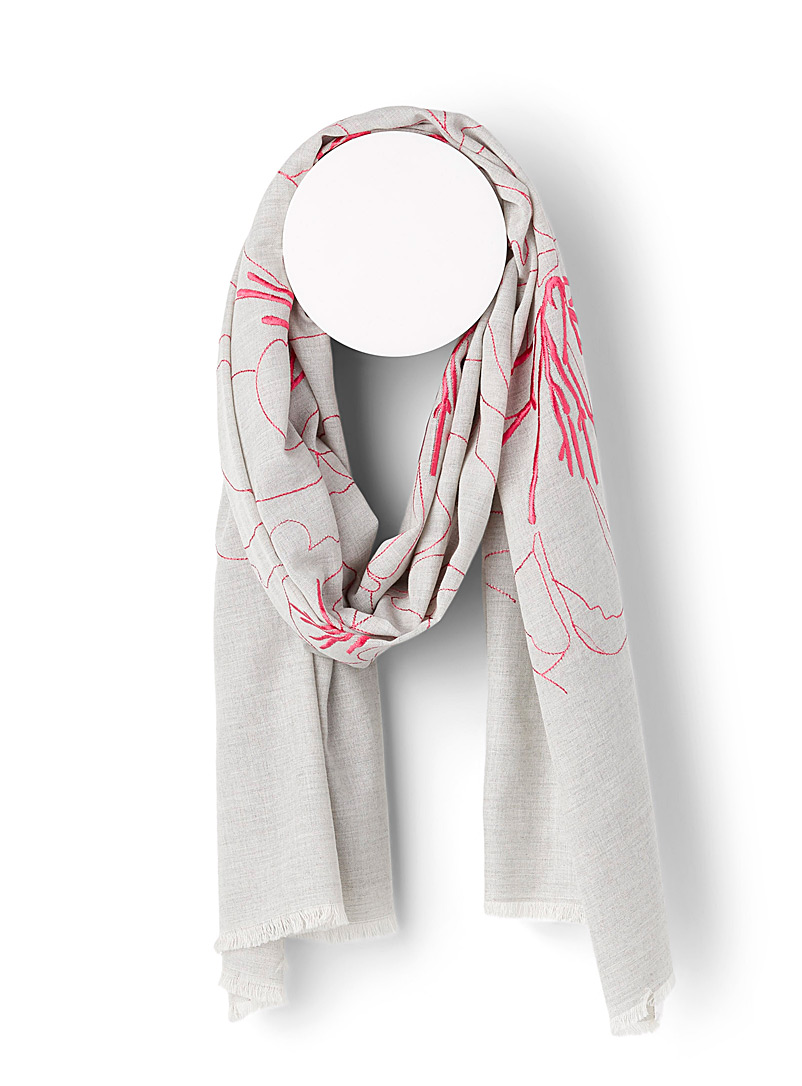 Sarajane Assorted beige Linen-like floral scarf for women