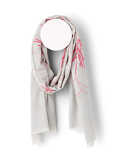 Linen-like floral scarf