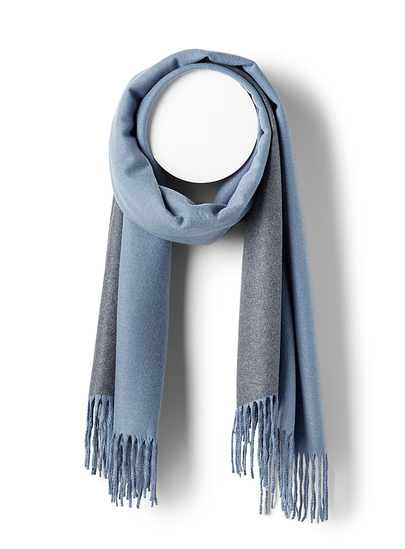 Simons Teal Ultra-soft two-tone fringed scarf for women