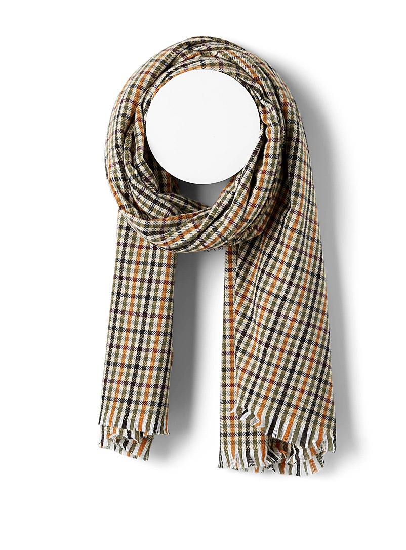 Simons Patterned Green Fall weft check scarf for women