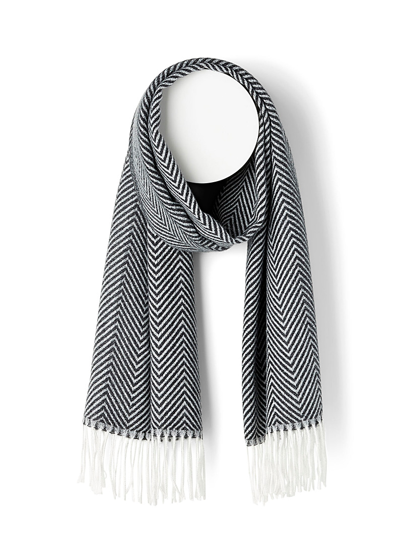 Simons Patterned Black Pastel herringbone scarf for women
