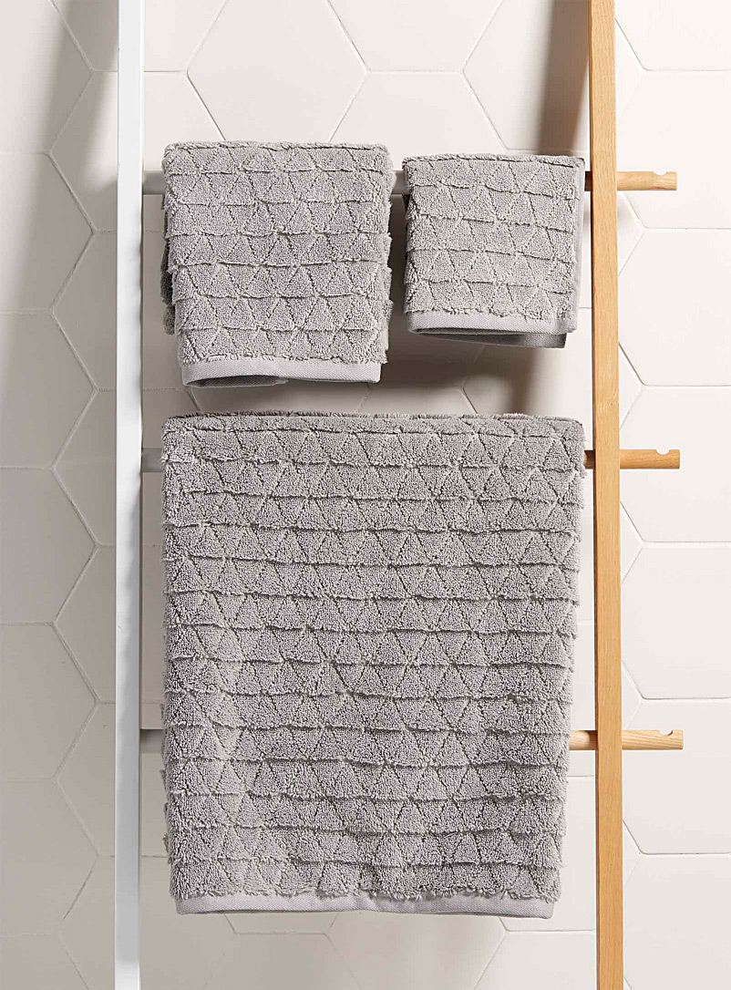 Simons Maison Grey Prismatic Turkish cotton towels