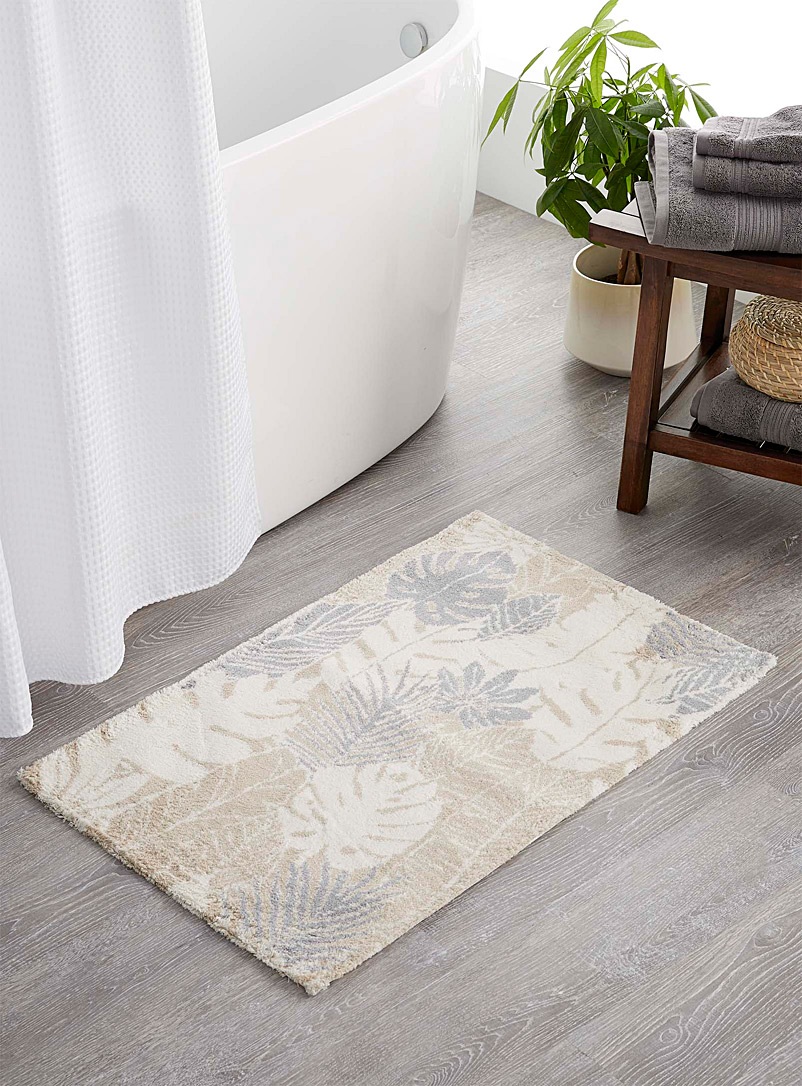 Soothing foliage bath mat  20&quote; x 30&quote; - Bath Rugs - Ecru/Linen