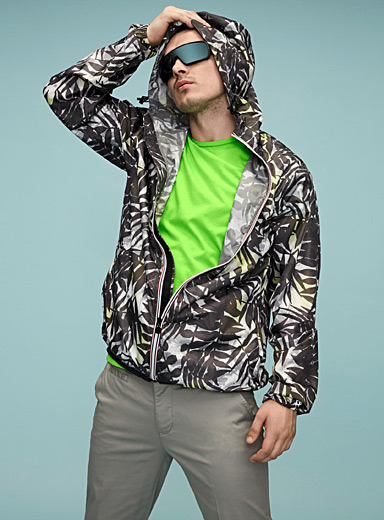 Tropical foliage camo windbreaker