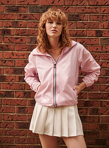 O8 Lifestyle Dusky Pink Packable sporty raincoat for women