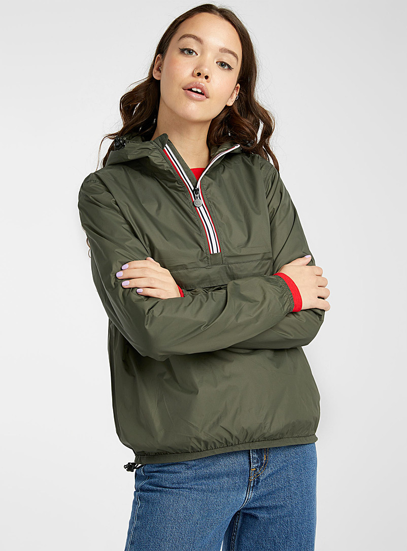O8 Lifestyle Mossy Green Packable sporty waterproof anorak for women