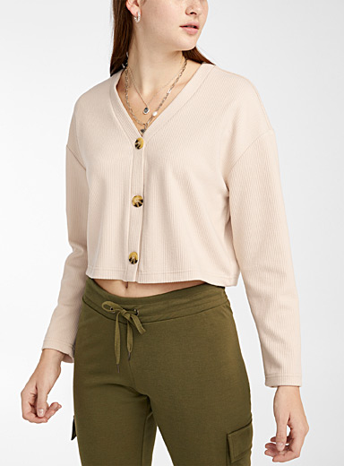 Twik Ivory White Buttoned ribbed cropped cardigan for women
