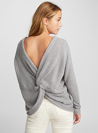 Draped back sweater