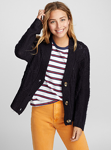 Cropped cable-knit cardigan