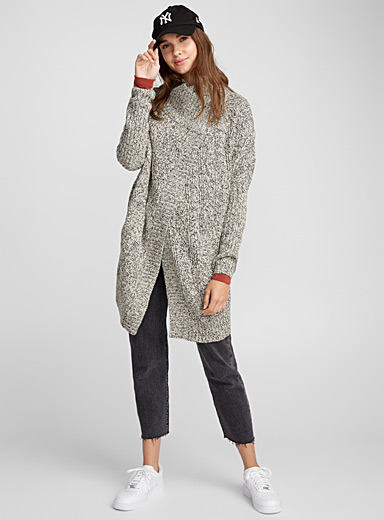 Heathered knit cocoon cardigan