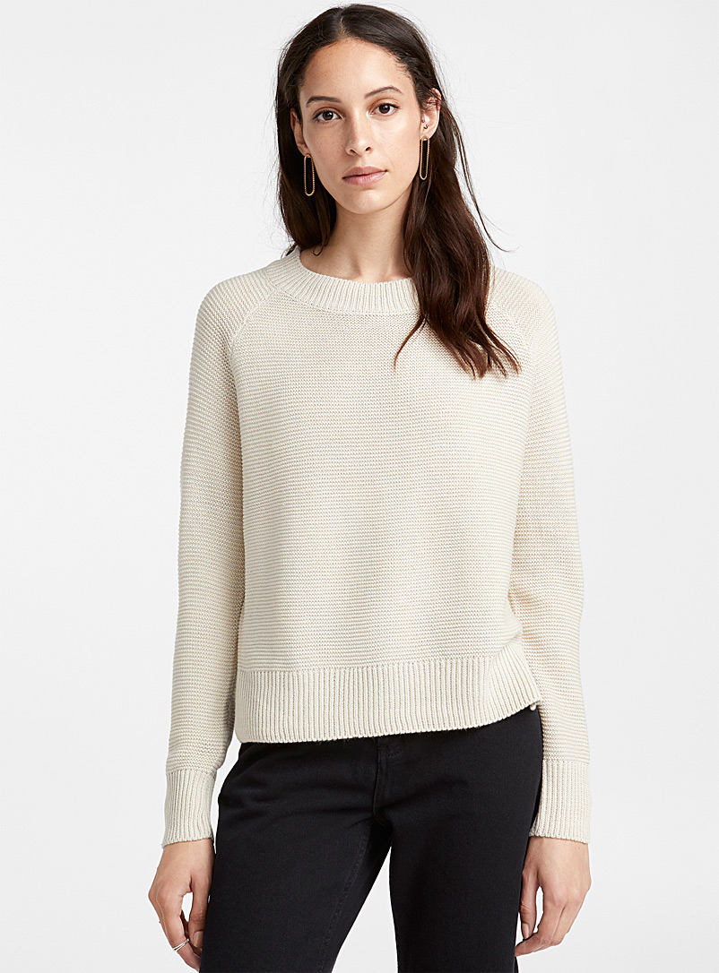 Mini wave knit raglan sweater - Sweaters - Ivory White