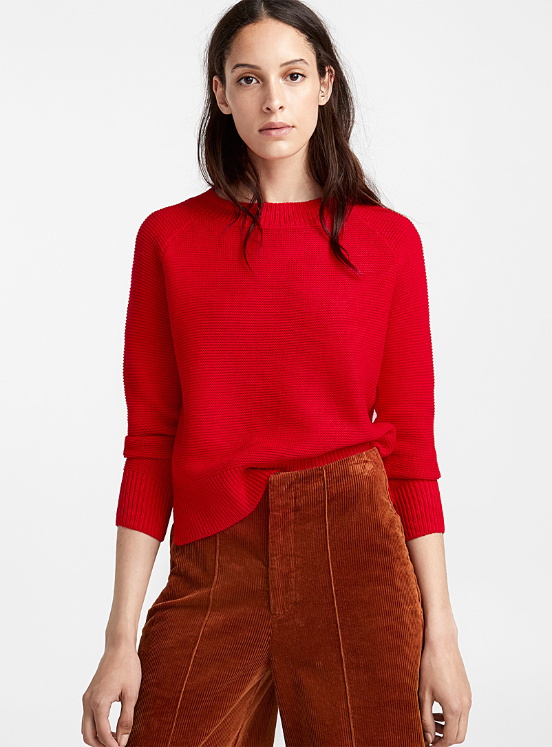 Le pull raglan maille minivagues - Pulls - Rouge