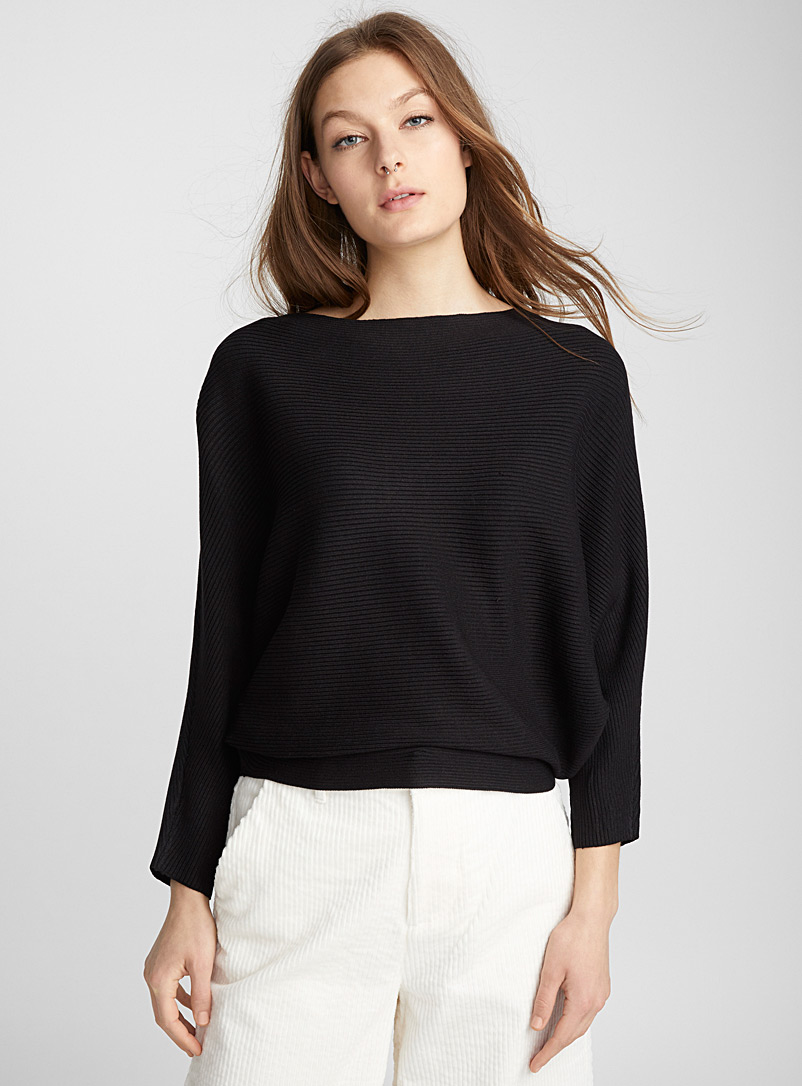 Ribbed batwing sweater - Sweaters - Black