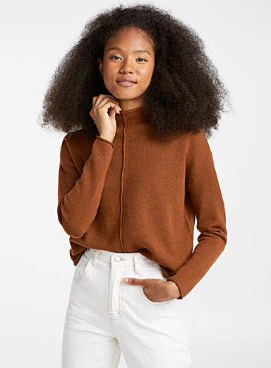 Centre seam mock-neck sweater