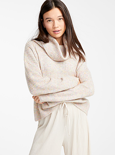 Ribbed draped neck sweater
