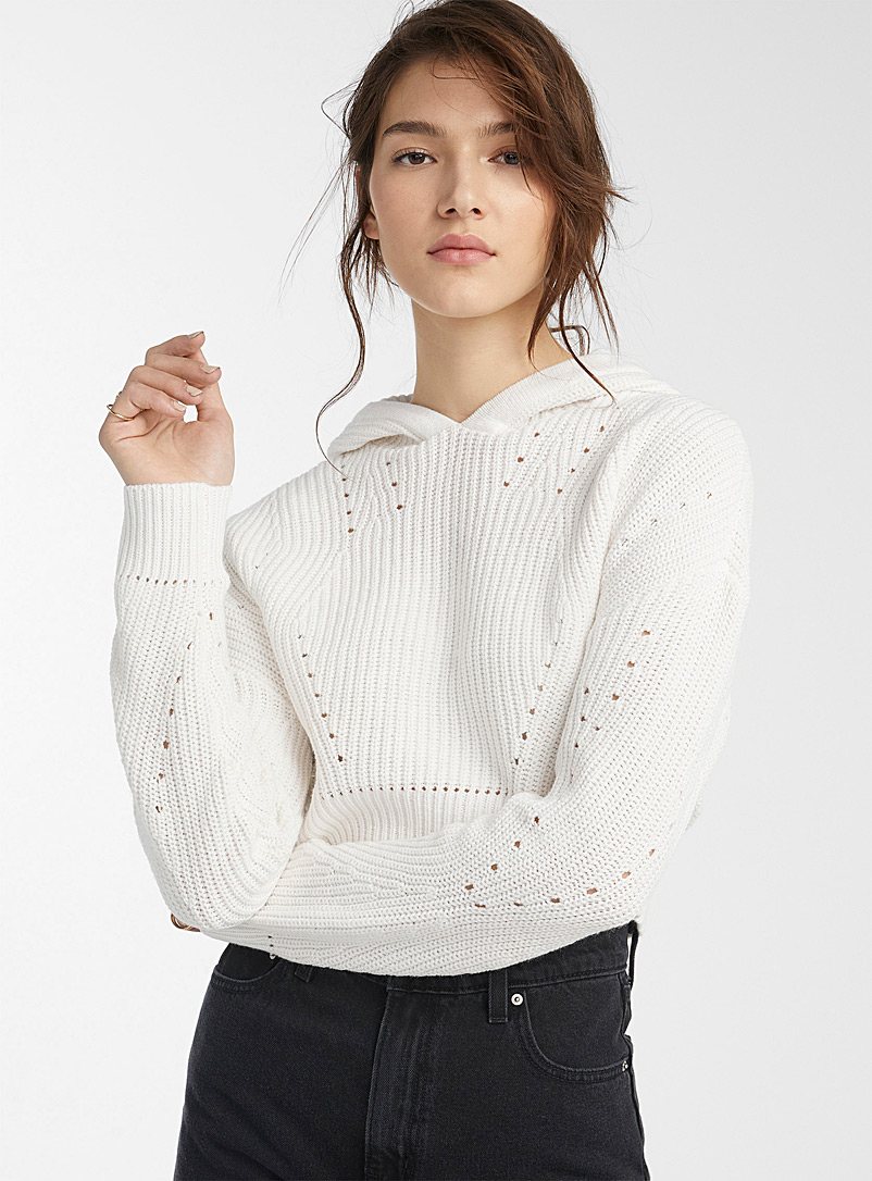 Twik White Openwork cropped hooded sweater for women