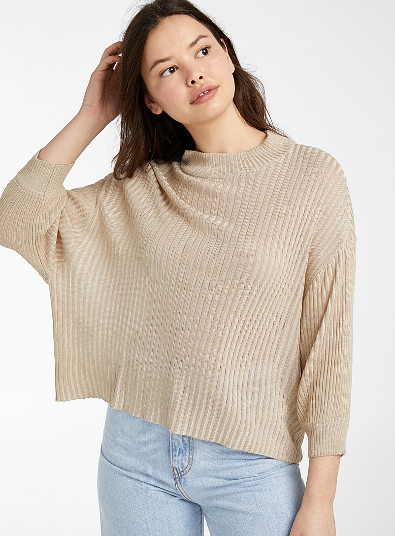 Twik Sand Puff sleeve ribbed mock-neck for women